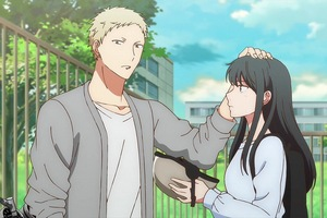 Akihiko breaks up with his girlfriend in the anime.