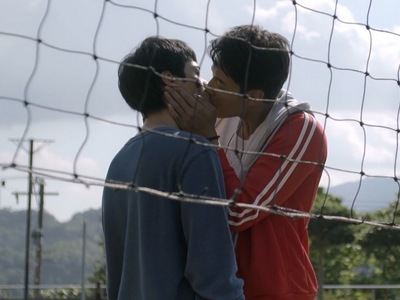 The two main characters kiss in the HIStory 1 My Hero ending.