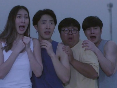 Kim's friends get scared by the ghosts.