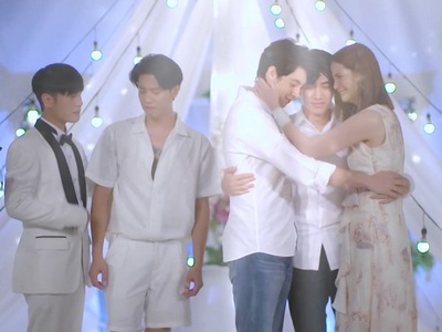 Kaew reunites with Kim and Tha in the Hidden Love ending.