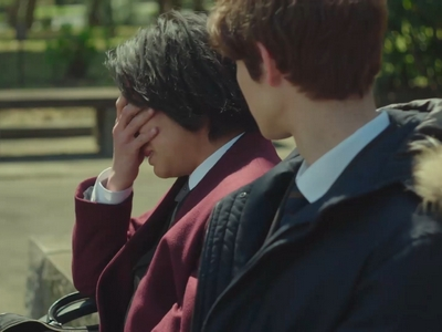 Nagisa cries after he gives up custody to his ex-wife.