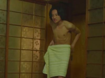 Nagisa walks out of the bathroom in just a towel.