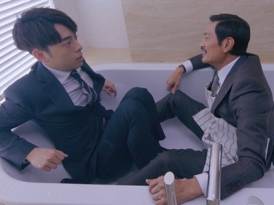 Tin and KK spend an intimate moment together in the bathtub.