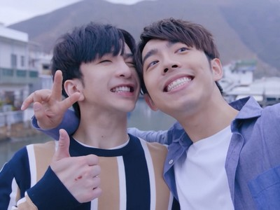 Tin and Muk take a selfie together in Tai O.